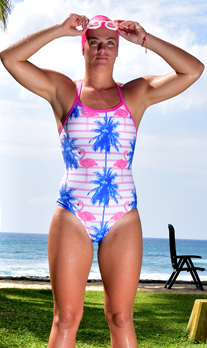 Catfish One Piece Strappy back Flamingo Palm