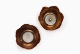 Lotus T-light Holder - Oxidised Copper  (Set of two) - Vilaasita  - 2