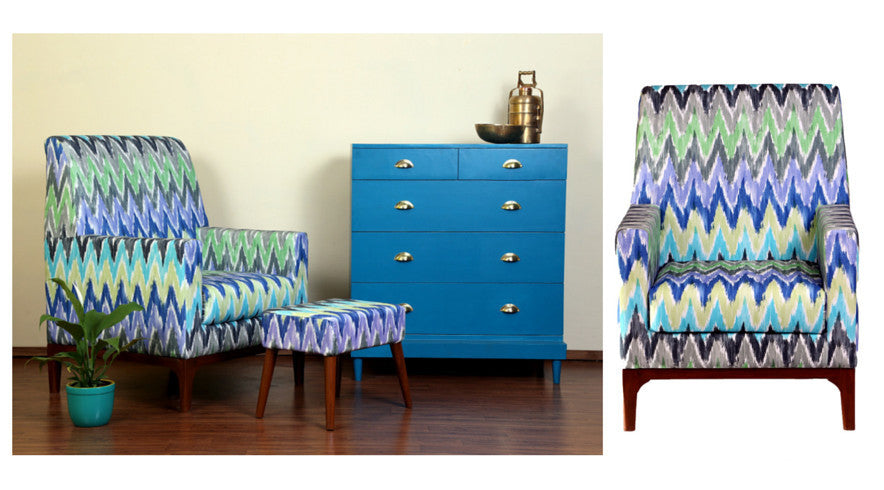 Ikat Club Chair, Ikat Pouf and Charlotte Chest