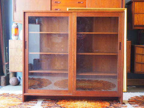 Danish Style Large Teak Glass Fronted Bookcase Storage - erfmann-vintage