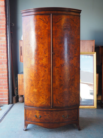Victorian Burr Walnut Bow Fronted Wardrobe with Drawer - erfmann-vintage