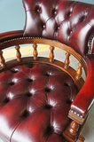 Chesterfield Swivel Office Armchair Ox-Blood Leather. - erfmann-vintage