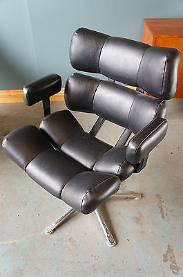 Mid Century Danish Style Leather Occasional Chair Armchair. - erfmann-vintage