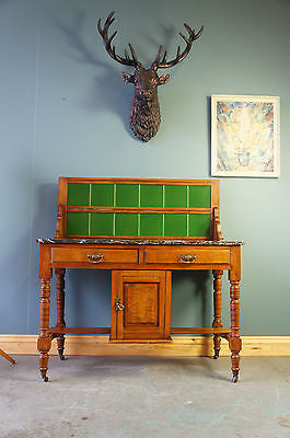 Victorian Wash Stand Black Marble Walnut Green Tiles. - erfmann-vintage