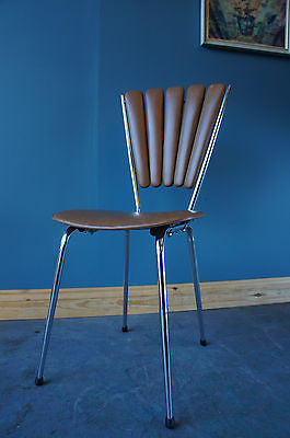 Contemporary Retro Style Single Chair Metal Faux Leather. - erfmann-vintage