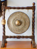 Antique Gong And Hammer On Oak Stand - erfmann-vintage