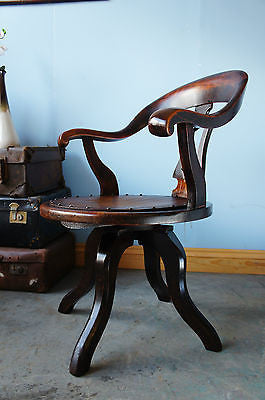 Antique Victorian Mahogany Captain's Desk Chair. - erfmann-vintage