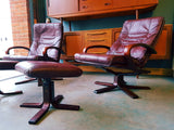 Two Danish Mid Century Burgundy Red Leather Reclining Armchairs with Matching Footstools - erfmann-vintage