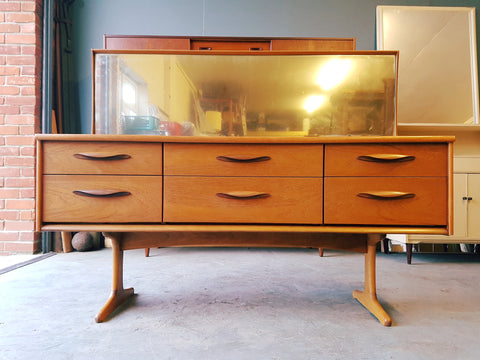 Vintage Retro Large Teak Dressing Table Chest of Drawers w/Mirror Danish Style - erfmann-vintage