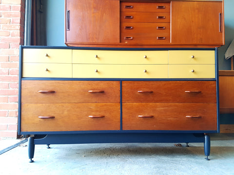 Mid Century Retro Danish Style Sideboard Drawer Unit Painted & Restored - erfmann-vintage