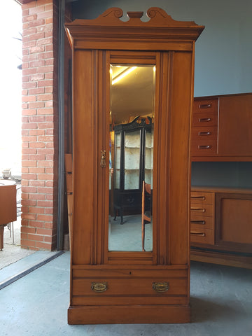 Edwardian Satinwood Wardrobe Elegant with Drawer & Mirror - erfmann-vintage