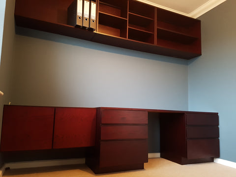 Beaver & Tapley 33 Burgundy Oak Office & Wall Units - erfmann-vintage