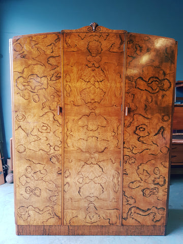 Vintage Edwardian Large Walnut Wardrobe Very Unusual 3 Door - erfmann-vintage