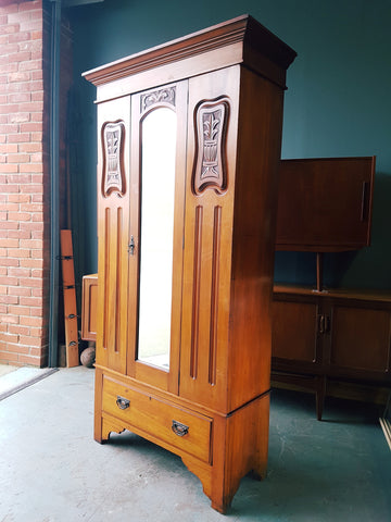 Edwardian Satinwood Wardrobe Elegant Mouldings with Drawer & Mirror - erfmann-vintage