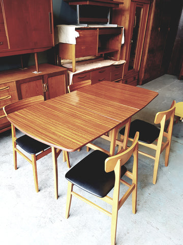 Vintage Retro Formica Drop Leaf Table & 4 Chairs with Vinyl Padding - erfmann-vintage