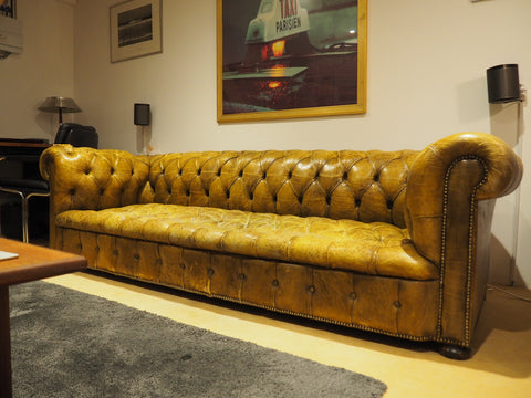 Shabby Chic Green/yellow Leather Chesterfield 3 Seater Sofa - erfmann-vintage