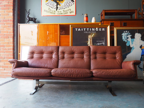 Vintage 1960s Frederik Kayser for Vatne Red/Brown Leather 3 Seater Sofa - erfmann-vintage