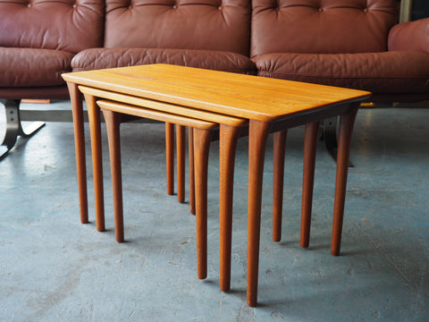 Mid Century Danish Nest of Tables in Teak - erfmann-vintage