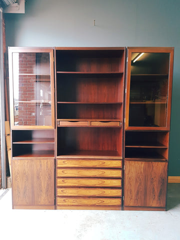 Modern Mid Century Rosewood SCANFLEX 3 Piece Office Units Book Shelves Storage - erfmann-vintage