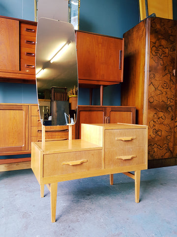 Mid Century Vintage Retro Oak Dressing Table with Long Mirror - erfmann-vintage
