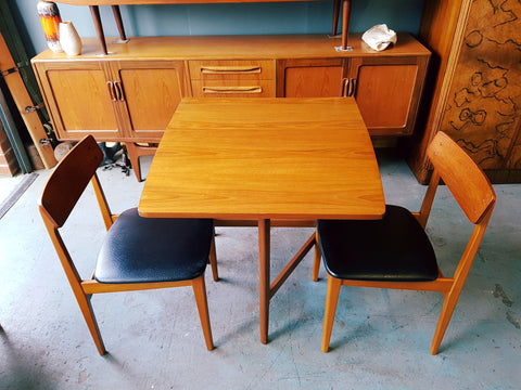 Vintage Retro Mid Century Teak G Plan Table & 2 Vinyl & Teak Chairs - erfmann-vintage