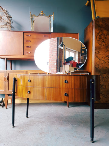 Art Deco Oak Veneer Dressing Table & Mirror Black & Brass Detailing - erfmann-vintage