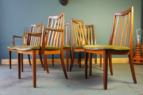 Six Vintage Mid-Century G Plan Fresco High Back Dining Chairs - erfmann-vintage