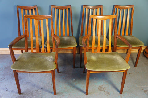 Six Vintage Mid Century G Plan Fresco High Back Dining Chairs