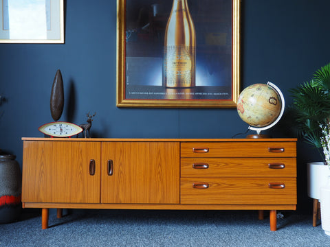 Mid Century Vintage Low Lying Pale Teak Sideboard