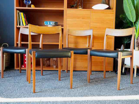 Mid Century Dining Chairs by Yngve Ekström for Hugo Troeds, 1950s, Set of 4