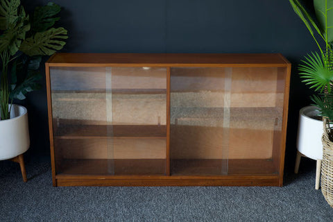 Mid Century Teak Glass Fronted Display Cabinet Bookcase Storage Unit