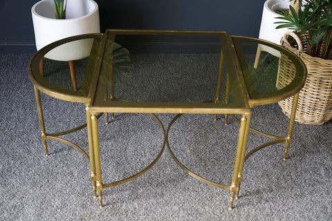 French Brass & Glass Coffee Table & D-Shape Side Tables 1970s