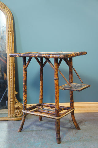 Victorian Oriental Chinese/Japanese Bamboo Side Table - erfmann-vintage
