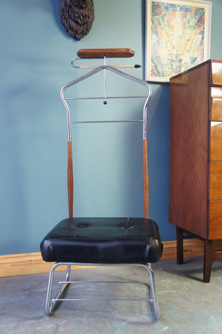 Mid-Century 'Gentleman's Valet' Chrome Rosewood with a Padded Black Vinyl Seat - erfmann-vintage