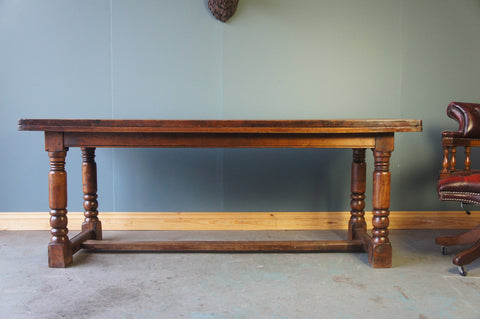 Rustic Country Style Early 20th Century Solid Oak Kitchen or Dining Table - erfmann-vintage