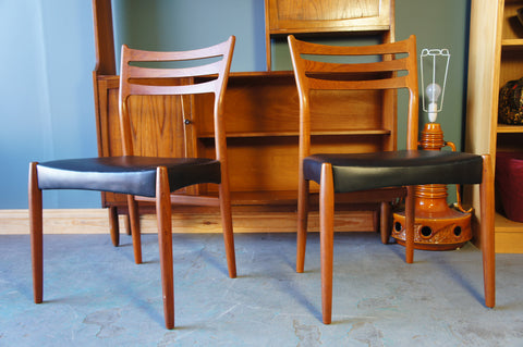 Two Mid-Century Danish Teak & Faux Leather Dining or Occasional Chairs - erfmann-vintage