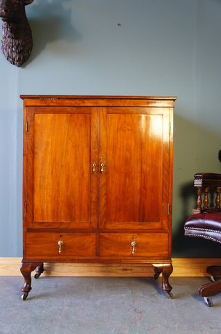 Victorian Oak Cabinet Highly Polished with Brass Handles & on Casters - erfmann-vintage