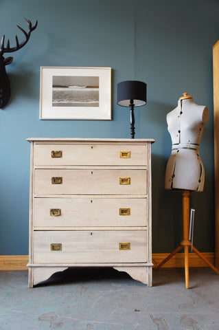 Shabby Chic Vintage Retro Chest of Drawers in Satinwood - erfmann-vintage