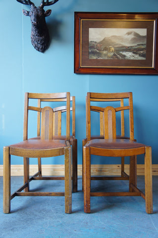 4 Art Deco Oak Dining Chairs with Faux Leather Seats - erfmann-vintage
