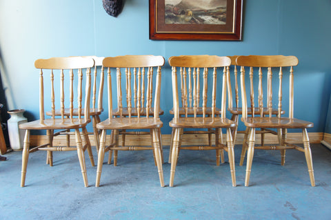 8 Large Solid Pine Dining or Kitchen Chairs (would be great for a pub or restaurant) - erfmann-vintage