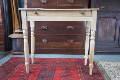 Rustic Victorian Pine Desk / Hall or Side Table with Drawer - erfmann-vintage