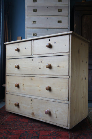 Large Victorian Stripped Pine Chest of Drawers Rustic / Country Style - erfmann-vintage
