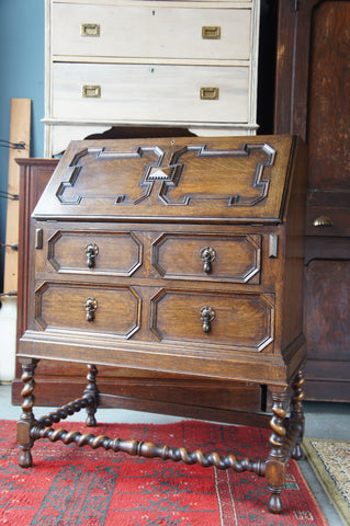 Jacobean Style Arts & Crafts Oak Bureau with Barley Twist Legs and Stretcher - erfmann-vintage