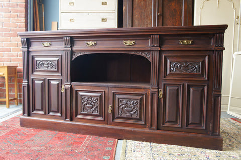 Late Victorian Heavily Carved Mahogany Sideboard with original Cooler Drawer - erfmann-vintage