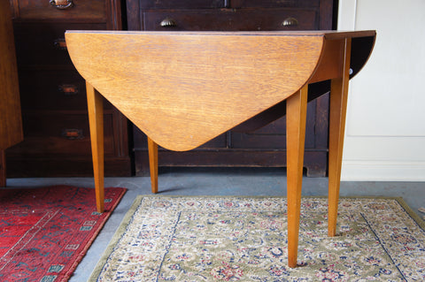 Danish Mid Century Hexagonal Drop Leaf Dining / Kitchen Table - erfmann-vintage