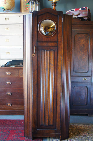 Art Deco Oak Wardrobe with Convex Mirror and Linenfold Carving - erfmann-vintage