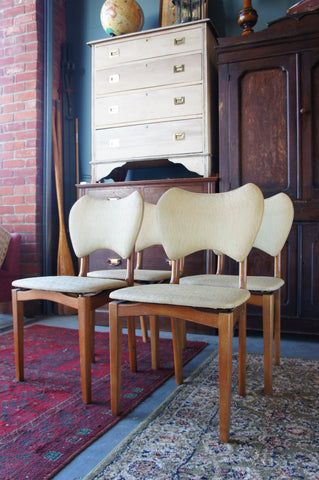 Four Vintage Retro (60s or 70s) Cream Vinyl & Wood Dining Chairs - erfmann-vintage