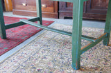 Rustic Country Kitchen or Dining Room Table with Bleached Top, Painted Green Base & Legs - erfmann-vintage