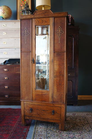 Art Deco Oak Wardrobe Pretty Mouldings with Mirror and Single Drawer - erfmann-vintage