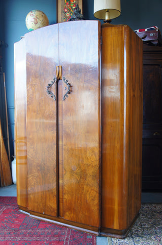 Arts & Crafts Large LEBUS Wardrobe/Armoire in Walnut with Shelving, Mirror & Hanging Rail - erfmann-vintage